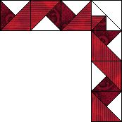 Quilt border ~ Curling Ribbon - in two shades of one hue, built up of quarter-square triangles, or easy-peasy in paper piecing. Related border at https://www.pinterest.com/pin/38702878025905568/   More great trick patterns at https://www.pinterest.com/yrauntruth/quilt-paper-piecing-foundation-piecing/ and https://www.pinterest.com/yrauntruth/quilt-tricks-hacks/