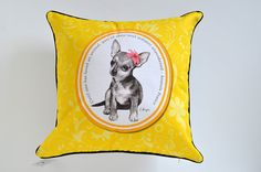Chihuahua cushion cover, dog pillow, animal lover pillow, yellow chihuahua pillow cover, dog lover gift. on Etsy, $36.80