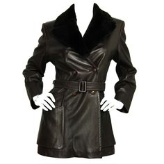 1stdibs.com | HERMES Brown Double Breasted Leather Jacket w. Fur Collar and Belt SZ - 4