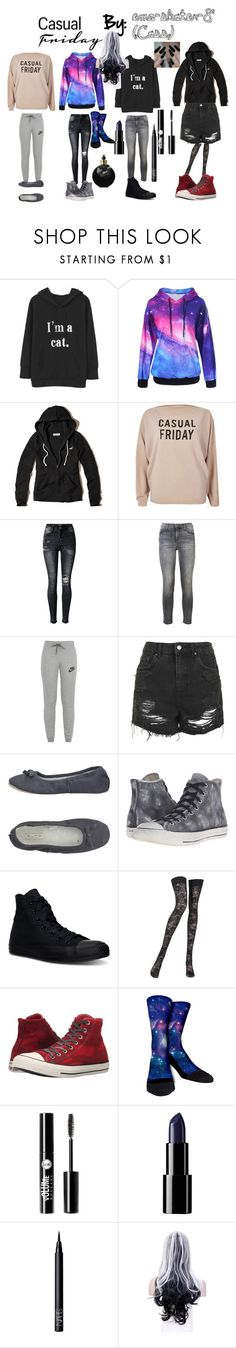 """Casual Friday"" by emo-skater-8 ❤ liked on Polyvore featuring Hollister Co., River Island, Current/Elliott, NIKE, Topshop, Alto Milano, Converse, Pierre Mantoux, Charlotte Russe and NARS Cosmetics"