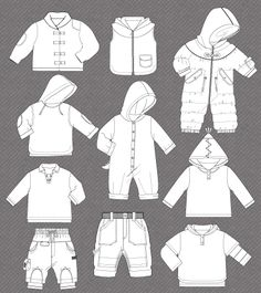 Set of isolated fashion flats for baby boy | cute vector art for kids clothes | t-shirt motifs designs | sketches, flats | forecast, trendbook, graphic book | free vector download | fashion blog | 矢量艺术的孩子们的衣服