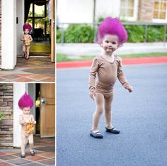 Absolutely adorable little troll doll costume -- and actually, not much taller than an actual troll doll!