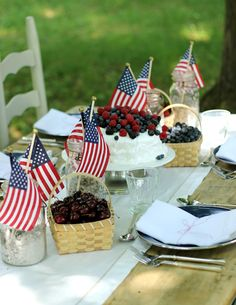Jenny Steffens Hobick: 4th of July Table Setting, Red White & Blue Ice Cream Cake, & Star Spangled Sangria