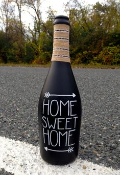 Home Sweet Home Chalkboard Wine Bottle / Rustic by Hinzpirations