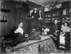 geez, they coulda spring for some comfy sofas or something....  Typical 19th century American opium den.