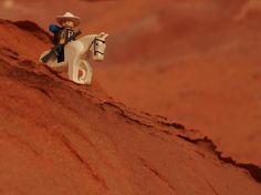 Cowboy Bean has learned to trust his horse in these treacherous and beautiful canyons. . #lego #desert #redrock #cowboybean