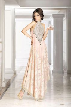 Bridal Elegance - anarkali pale blush halter gown by Faraz Manan Pakistani Couture, Pakistani Dress Design, Indian Couture, Pakistani Bridal, Pakistani Outfits, Indian Outfits, Pakistani Lehenga, Caftan Gallery, Moda Hippie