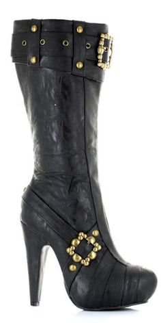 "#426-AUBREY 4"" Knee High Steampunk Black Boots With Buckles And Studs Sizes: Women's 6,7,8,9,10"