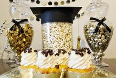 Black and Gold Graduation Party Desserts- B. Lovely Events