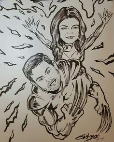 X-Men couple drawn at a wedding reception