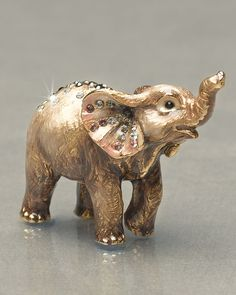 """""""Ruby"""" Elephant Mini Figurine by Jay Strongwater at Horchow. *trunk up for good luck Elephant Parade, Elephant Ears, Elephant Figurines, Elephant Love, Elephant Stuff, Elefante Dumbo, Porcelain Dolls Value, Elephant Home Decor, Jay Strongwater"""