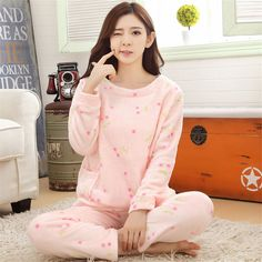 New Listing Adult Flannel Pajamas Sets mujer Adults Cartoon Thick Warm Women Pyjama Sets Sleepwear For Ladies Nightwear Winter