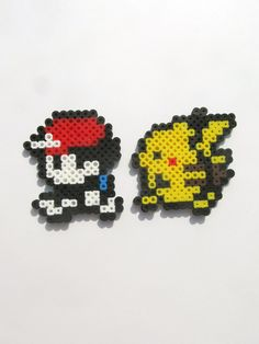 Pokemon Ash and Pikachu Yellow Version Perler Sprites. $4.00, via Etsy.