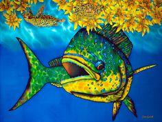 Jean-Baptiste.com Silk Painting of dorado fish