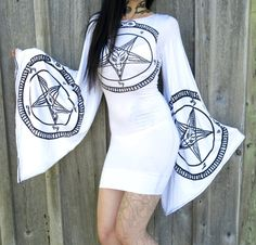 White Pentagram Drape Tunic Mini Dress by Hell Couture