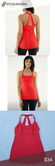 "Lululemon Scoop Me Up Tank in Love Red Women's Lululemon Scoop Me Up Tank In Love Red? No rip tag/Size dot but measures as an 8? Gently used EUC?  Measurements laying flat:? Underarm to underarm: 15""? Length: 24.5"" lululemon athletica Tops Tank Tops"