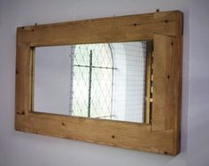 handmade available from Somerset UK #rustic #mirror with #eco-friendly #solid #wood #frame #Etsy #UK prices from £52 designed by Marc and #handmade by our small team at #MarcWoodJoinery #Somerset #UK #custom sizes on request. #design #country #green #traditional #bedroom #home #living #slow #artisan #style #eco #rustic #industrial #interiordesign #pale #chunky #grain #knots #house #dining #hall #bathroom #kitchen #cottage #farmhouse #wooden #ideas #decor #reclaimed #gifts #shop