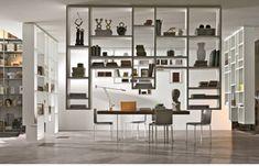floating bookshelves at ceiling level | Weightless, sempre di Lago, è una libreria che capovolge la classica ...