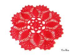 Red crochet doily