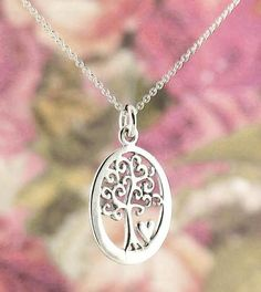 Oval Tree of Life Necklace with Tiny Heart in Sterling Silver-Tree of Life-woot & hammy