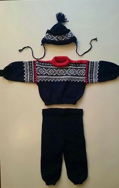 /norwegian hand knitted baby set sweater Black White Red
