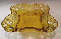 Amber Depression Glass Large Deep Dish, Bowl. Open Lace Curved Square w/ Leaves