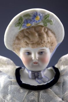 "13.5"" Vintage Emma Clear Flower Bonnet Doll NO RESERVE Large Collection 27"