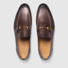 Gucci Jordaan leather loafer - Gucci Jordaan Loafer - Ideas of Gucci Jordaan Loafer - Shop the Gucci Jordaan leather loafer by Gucci. Leather loafer designed with an elongated toe and Horsebit detail. Brown Loafers, Loafers Men, Leather Loafers For Men, Sneakers Mode, Sneakers Fashion, Gucci Mens Sneakers, Gucci Jordaan Loafer, Mocassin Gucci, Mens Designer Loafers