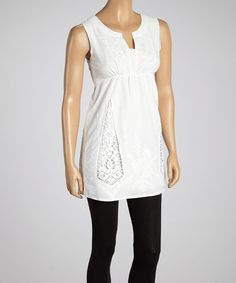 Another great find on #zulily! Aryeh White Cutout Embroidered Top by Aryeh #zulilyfinds