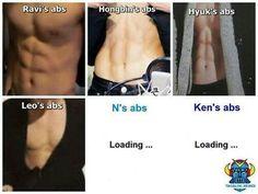 Ravi, Leo, Hongbin & Hyuk's abs