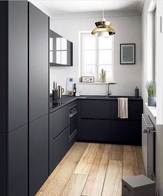 Adorable Kitchen remodel las vegas ideas,Kitchen design layout ideas l-shaped tricks and Small kitchen designs layouts tricks. Black Kitchen Cabinets, Kitchen Tops, Kitchen Cabinet Design, Black Kitchens, Modern Kitchen Design, Interior Design Kitchen, Kitchen Decor, Dark Cabinets, Kitchen Ideas