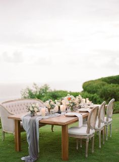 Gray and taupe wedding table decor: Photography: Nadia Hung Photography - www.nadiahungphotography.com   Read More on SMP: http://www.stylemepretty.com/2017/02/21/this-couple-recreated-their-wedding-day-4-years-later/