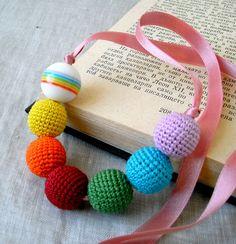 Rainbow Crochet Jewelry   Rainbow Necklace - Crochet Beads Necklace - Children's Necklace ...