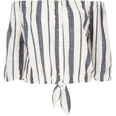 River Island Blue stripe bardot top ($36) ❤ liked on Polyvore featuring tops, bardot / cold shoulder tops, blue, women, white cut out shoulder top, relaxed fit tops, white top, button front tops and loose white top