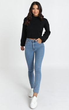 Make a statement with this knit jumper this weekend! It's the perfect addition to any wardrobe, you'll love to pair with your fave trackies for the ultimate comfortwear. First Day Of School Outfit, Casual School Outfits, Cute Casual Outfits, Simple Outfits, Outfits For Teens, Girl Outfits, Fashion Outfits, School Appropriate Outfits, Cute Middle School Outfits