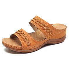 283b93f461bb LOSTISY Handmade Stitching Hollow Casual Comfy Sandals Sandály Na Klínku