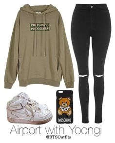"""""""Airport with Yoongi"""" by btsoutfits ❤ liked on Polyvore featuring NIKE, UNIF, Topshop and Moschino"""