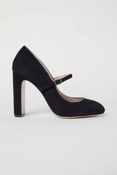 Suede pumps with rounded toes and covered block heels. Adjustable foot strap with metal buckle and concealed elastication. Leather l Black Suede Pumps, Black Shoes, Buckle Ankle Boots, Court Shoes, Mode Outfits, Metal Buckles, Beret, Stilettos, Latest Fashion For Women