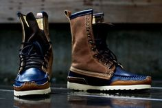 Brown/blue boots