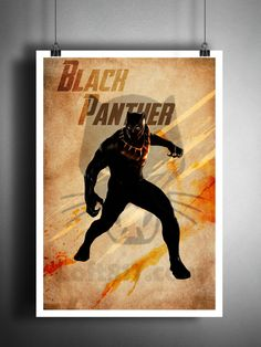 Retro style pop art print of the Black Panther, done in my grungy dark splatter style, these are sure to amaze your friends. Awesome vintage look! These unique and original artwork are printed on auth
