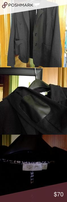 RD Style Tiel Ponte Blazer Black knit blazer with leather elbow patches.  Only worn twice.  True black, not washed out like it looks in the photo.  Great knit fabric is perfect for travel - doesn't wrinkle! RD Style Jackets & Coats Blazers