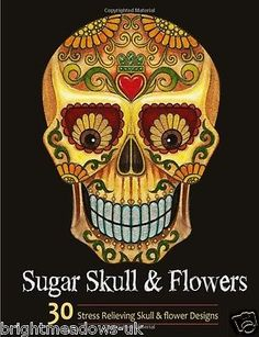 Sugar #skull & flowers adult colouring book #floral tattoo day dead #halloween ar,  View more on the LINK: 	http://www.zeppy.io/product/gb/2/291919475298/