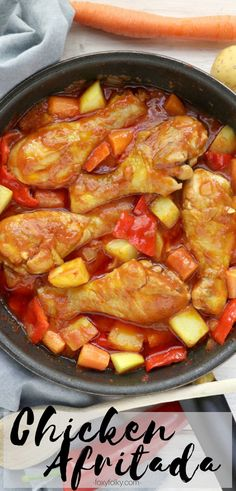 Chicken Afritada Try this Chicken Afritada recipe A Filipino chicken stew in tomato sauce with carrots potatoes and bell peppers Simply delicious Chicken Recipes Filipino, Healthy Chicken Recipes, Crockpot Recipes, Cooking Recipes, Filipino Food, Filipino Noodles, Filipino Dishes, Pinoy Food, Turkey Recipes
