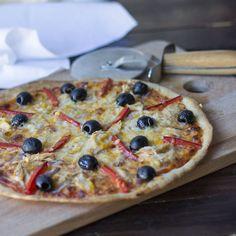 Cómo preparar pizza con cebolla morada, pimiento rojo, aceitunas negras y atún con Thermomix
