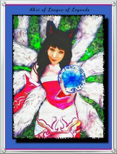 New Art for 05/2016, Ahri of League of Legends On canvas with watercolor paint Enhance with D.G. for display. 05/2016用の新しいアート、伝説のリーグのAhri水彩とキャンバスでD.G.と強化表示のため。