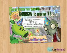 Plants vs Zombies Birthday Invitation Printable by StrasenDesigns, $12.00
