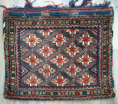 Nice antique star bag all wool and natural dyes Luri I reckon great condition, few small repairs largest detailed  otherwise full pile original back 64 X 55 cm ca 1900
