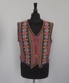 Vintage 90s Chic Retro Woven Knit Southwestern Print Cotton Ramie Vest Button up Mens Womens Size Small to Medium Indie Hipster Boho Folk