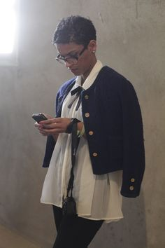 Over the shoulder tweed jacket