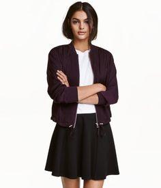 ca9b332e767232 Dark purple. Bomber jacket in airy satin fabric. Zip at front